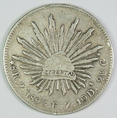 1893-Zs Mexico 8 Reales Silver Coin
