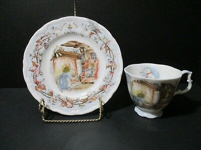 Vintage Royal Doulton Brambly Hedge WINTER Bone China Tea Cup and Plate, Set