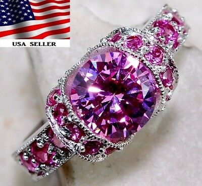 3CT Pink Sapphire 925 Solid Genuine Sterling Silver Ring jewelry Sz 8