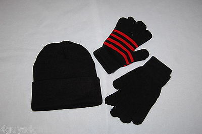 Womens Juniors BLACK KNIT STOCKING HAT Two Pair Stretchy Gloves BLACK Red Stripe