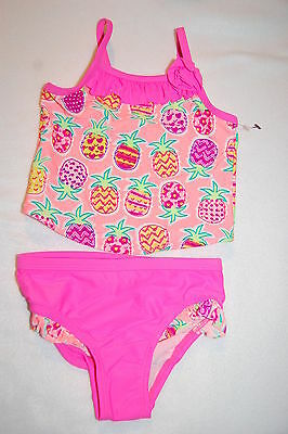 Toddler Baby Girls Swimsuit HOT PINK ORANGE PINEAPPLES Tankini Set 18 MO
