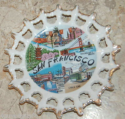 Collector Plate SAN FRANSISCO Eyelet Border GOLD TRIM Golden Gate Bridge 7.5""