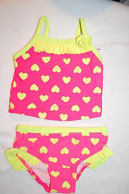 1233a8b33a28d Baby Girls 2 PC TANKINI Swimsuit HOT PINK w  NEON YELLOW HEARTS Ruffles 12  MO