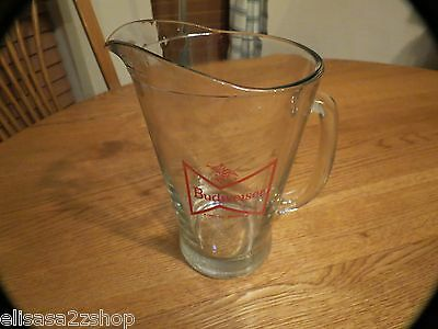 Budweiser pitcher RARE glass bowtie design king of beers beer heavy bar red