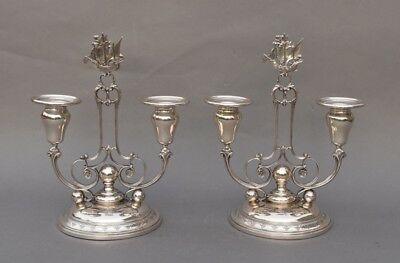 Pair of 1927 Towle SEVILLE Sterling Silver Candelabra w/ SHIP FINIALS - 1131 g