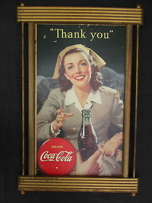 Original Vintage 1944 Wwii Era Coca-Cola Coke Cardboard Sign Kay Displays Frame