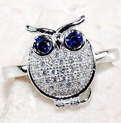 Blue Sapphire & Topaz 925 Solid Genuine Sterling Silver Owl Ring jewelry Sz 8