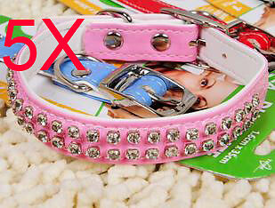 Practical S 1.6*35 CM Pink PU Leather Dog/Cat Collar Wholesale Lots 5 PCS