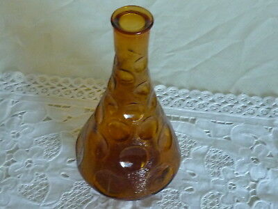 Vintage Italian Amber Plain And Textured Glass Genie Bottle Decanter