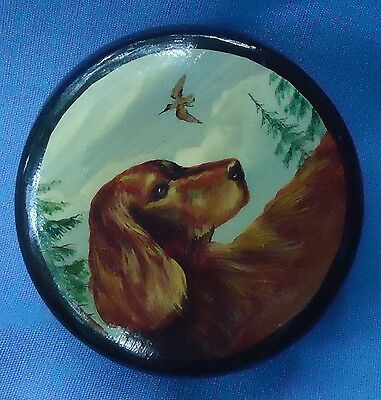 Vintage Irish Setter Dog Russian Lacquer Box