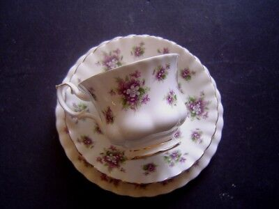 Beautiful Royal Albert Bone China Trio Cup, Saucer & Plate Sweet Violets Pattern