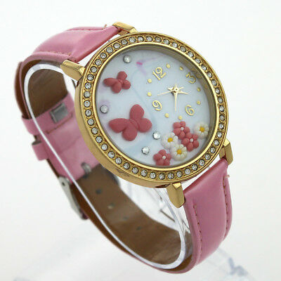 Brand New Pink Butterfly Dial Analog Fashion Leather Women Dress Wristwatch N22
