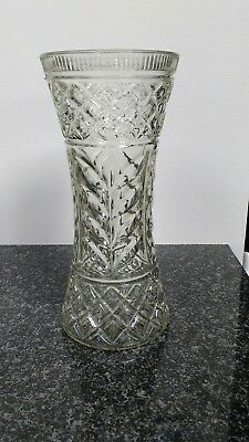 Vintage Pressed  Glass Vase VGC 26cm  Tall