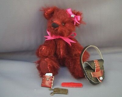 PAM'S EXCLUSIVE BEARS-Miniature 4 inch Tall Mohair Teddy-Maria & her Bag