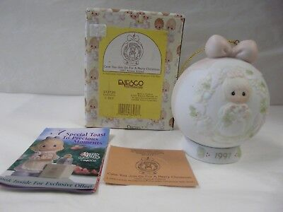 Precious Moments Cane You Join Us For A Merry Christmas 1997 Ornament & Base-NIB