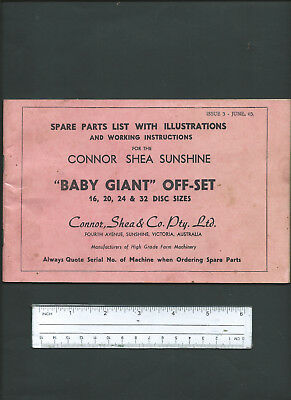 CONNOR-SHEA SUNSHINE BABY GIANT OFFSET ILLUSTRATED SPARE PARTS LIST, 28 pages