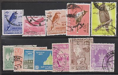 Burma Selection Of Used Singles With 5 Values Birds