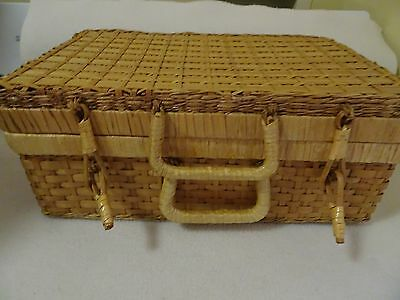 "Wicker Hinged Basket-Sewing-Stationery-Photos 14"" X 9"" X 6"" Deep-Handles-"