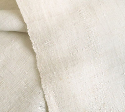 Antique French Loom Woven Homespun Rustic Primitive Linen Fabric ~  Natural