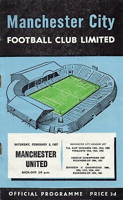 56/57 Manchester City V Manchester United First Division Very Good Condition
