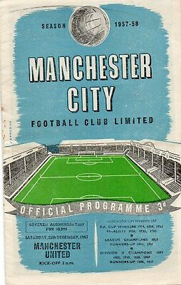 57/58 Manchester City V Manchester United First Division Very Good Condition