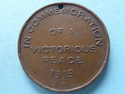 In Commemoration Of A Victorious Peace 1919 Copper Medal Damaged 38Mm  (321