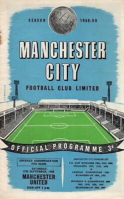 58/59 Manchester City V Manchester United First Division Very Good Condition