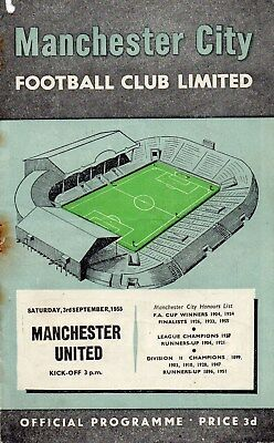 55/56 Manchester City V Manchester United First Division Fair Condition