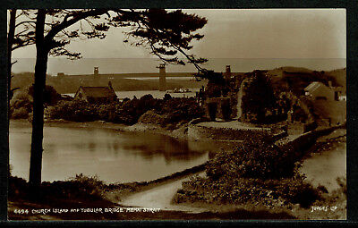 Judges Real Photo Postcard Church Island & Tubular Bridge Menai Strait Anglesey