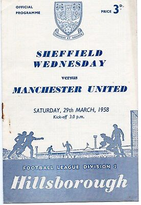 57/58 Sheffield Wednesday V Manchester United First Division Vg Condition