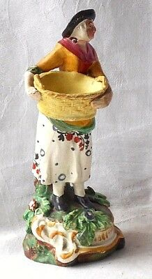 Late C18Th / Early C19Th Creamware Figure Of A Lady With A Basket