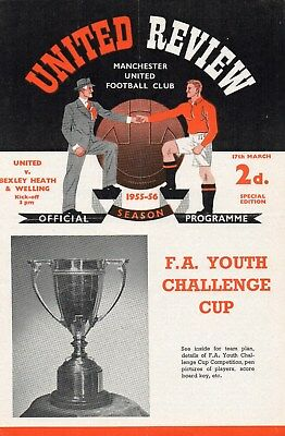 55/56 MANCHESTER UNITED V BEXLEY HEATH & WELLING FA YOUTH CUP 5th ROUND VG
