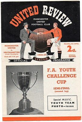 56/57 Manchester United V Southampton Fa Youth Cup Semi-Final Very Good