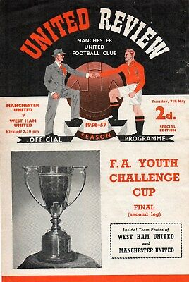 56/57 Manchester United V West Ham United Fa Youth Cup Final Very Good