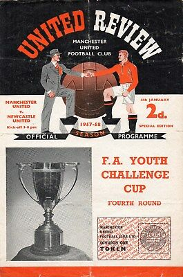 57/58 MANCHESTER UNITED V NEWCASTLE UNITED FA YOUTH CUP 4th RD WITH TOKEN FAIR