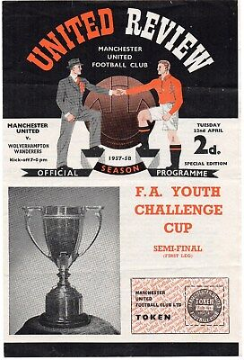 57/58 Manchester United V Wolverhampton Wanderers Fa Youth Cup Final With Token