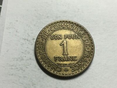 FRANCE 1924 open 4 1 Franc coin excellent condition
