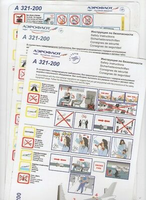 AEROFLOT     THREE  DIFFERENT     Airbus  A321-200       Safety Cards