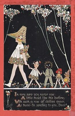 PHYLLIS COOPER Happy Land, a row of dollies, black ethnic doll p/u 1927 pb TUCK