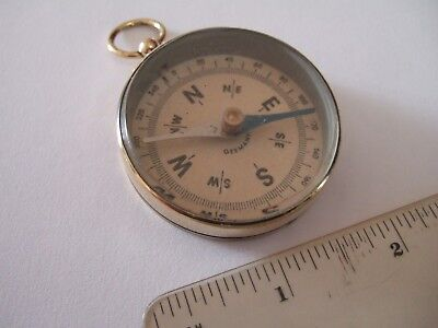Quality Early German Large Brass Pocket Compass Camping Hiking Walking