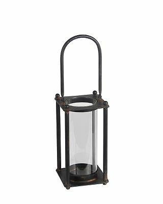 19 Inch Tall Black Metal and Glass Candle Lantern