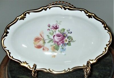 Reichenbach Oblong Floral China German Democratic Republic Plate*Crown*Signed