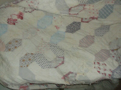 19THC VICTORIAN PATCHWORK QUILT, COTTON PATCHES damaged for repair