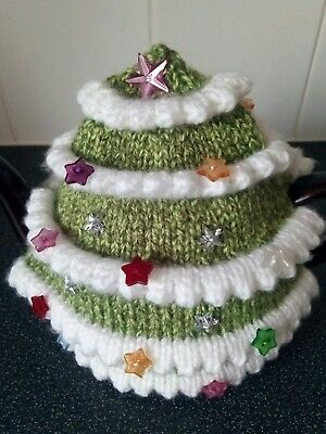 Hand knitted New Christmas tea cosy large for 2 pint teapot