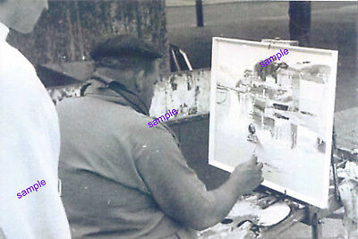 BRIXHAM ARTIST BILL STOCKMAN PAINTING BRIXHAM KINGS QUAY BACK IN THE 1960s