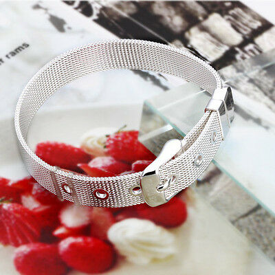Free P&P XMAS Gift Jewelry Sterling 925Silver watch strap Bracelet Bangle