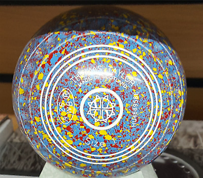 New Taylor Ace Size 1 Heavy Limited Edition Blue Yellow Red Speckle Lawn Bowls