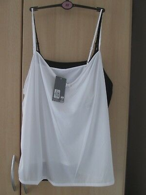 Marks And Spencer 2 Pack Camisoles 1 Black/1 White Cling Resistant Size 22 Bnwt