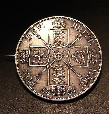 1887 British Double Florin Sterling Silver Victorian Broach Jewelry Piece