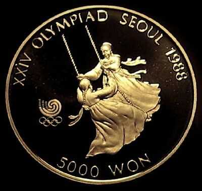 1987 Seoul Korea 5000 Large Silver Coin PROOF CAMEO ++